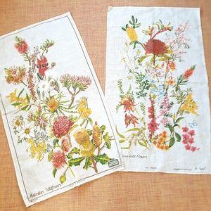 2 Vintage Australian Wildflowers Linens / Wall Art